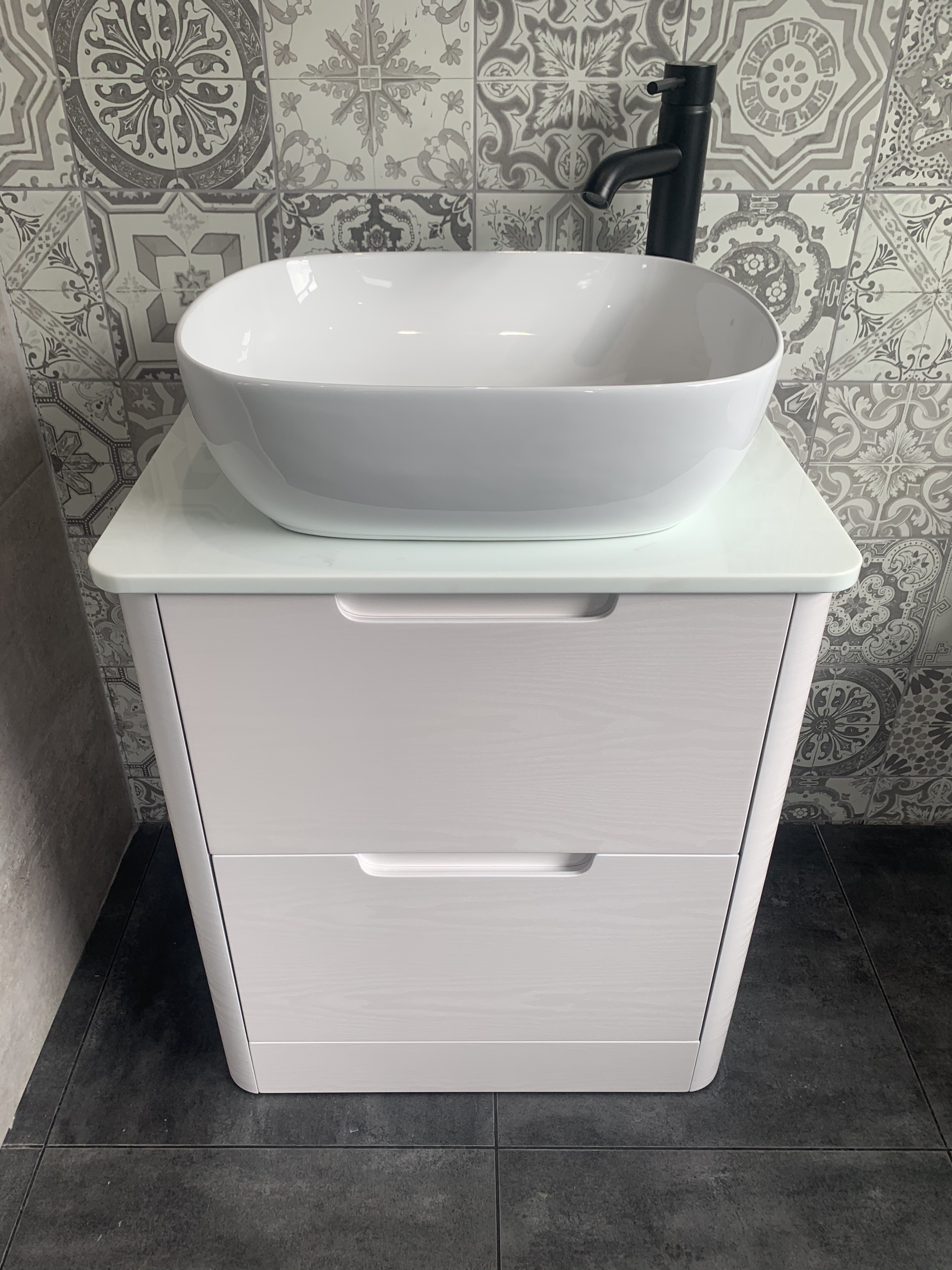 Sit on bowl vanity black | Wakefield Bathrooms